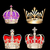 set gold crowns on black background stock photo © yurkina