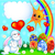 easter background with egg and amusing rabbit and rainbow stock photo © yurkina