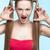 агрессивный · девушки · красное · платье · красивой · веснушчатый · синий - Сток-фото © zastavkin