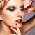 若い女性 · 赤い爪 · 小さな · グレー - ストックフォト © zastavkin