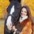 mooi · meisje · zwart · haar · paard · mooie · vrouw · oranje - stockfoto © zastavkin
