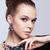 genç · kadın · bijuteri · gri · siyah · elbise · el · yüz - stok fotoğraf © zastavkin