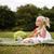 ragazza · mangiare · anguria · parco · bella · felice - foto d'archivio © zdenkam