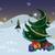 hóember · ajándékok · karácsonyfa · szalag · éjszaka · háttér - stock fotó © Zebra-Finch