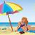 szexi · lány · tengerpart · színes · esernyő · lány · könyv - stock fotó © Zebra-Finch