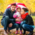 Happy young family under an umbrella in an autumn park stock photo © zeffss