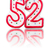 red number 52 with reflection on a white background stock photo © zerbor