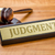 A gavel and a name plate with the engraving Judgment stock photo © Zerbor