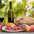 wijnglas · vlees · wijn · oude · doek · voedsel - stockfoto © zittto