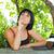 belo · caucasiano · mulher · leitura · ao · ar · livre · retrato - foto stock © zittto
