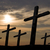 katolikus · kereszt · sziluett · temető · alkonyat · sziget - stock fotó © zittto