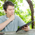słuchania · zmartwiony · słuchawki · młody · człowiek · słuchanie · muzyki · odizolowany - zdjęcia stock © zittto