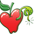 cômico · desenho · animado · verme · maçã · retro - foto stock © zooco