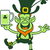 leprechaun smiling rising a leg and juggling with beer stock photo © zooco
