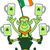 happy leprechaun seated on his hat and juggling with an irish flag stock photo © zooco