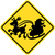 yellow warning sign informing that santa claus will possibly cross the road in his sleigh pulled by stock photo © zooco