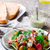 makréla · saláta · finom · zöldbab · rakéta · levelek - stock fotó © zoryanchik