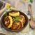 potato patties with fried bacon and onions stock photo © zoryanchik