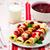 cereza · frutas · hojas · queso · cena - foto stock © zoryanchik