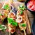 ソース · ケバブ · 背景 · プレート · 肉 · サラダ - ストックフォト © zoryanchik