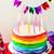 arco · iris · torta · velas · celebración · cumpleanos · atención · selectiva - foto stock © zoryanchik