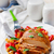 焼き鳥 · 乳がん · 野菜 · ディナー · フォーク · 白 - ストックフォト © zoryanchik