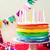 rainbow cake for with candles stock photo © zoryanchik
