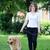 kadın · bacaklar · köpek · rus · terriyer · göz - stok fotoğraf © zurijeta