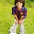 fiatalember · fiú · játszik · mező · égbolt · tavasz - stock fotó © zurijeta