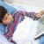 ferida · menino · mulher · médico · criança - foto stock © zurijeta