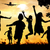 silhouette group of happy children playing on meadow sunset s stock photo © zurijeta
