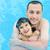 hijo · de · padre · piscina · verano · amor · feliz · deporte - foto stock © zurijeta