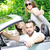 three friends in a sports car with thumbs up stock photo © zurijeta