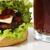 cheeseburger · soda · beber · verde · palha · pão - foto stock © zurijeta