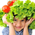 cute little kid with tomato and salad hat on his head stock photo © zurijeta