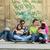 gençler · duvar · mutlu · grup · ayakta · güzel · kız - stok fotoğraf © zurijeta