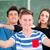 meisje · permanente · omhoog · Blackboard · school - stockfoto © zurijeta