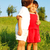 two happy children hugging each other on meadow stock photo © zurijeta