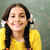 diák · fiatal · női · áll · iskolatábla · matematika - stock fotó © zurijeta