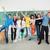 derűs · osztálytársak · osztályterem · pózol · zöld · tábla - stock fotó © zurijeta
