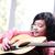 nina · jugar · guitarra · acústica · música · nino · belleza - foto stock © zurijeta