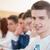 glimlachend · mannelijke · student · vergadering · onderwijs · studenten - stockfoto © zurijeta