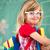 weinig · school · blond · meisje · klas · rugzak - stockfoto © zurijeta
