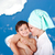 vliegen · gelukkig · gezin · water · glimlach · Blauw · meer - stockfoto © zurijeta