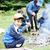 barbacoa · naturaleza · grupo · ninos · salchichas · fuego - foto stock © zurijeta