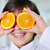 little boy holding orange slices on eyes as sunglasses stock photo © zurijeta