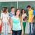 cute · uczennica · stałego · klasie · tablicy · uśmiech - zdjęcia stock © zurijeta