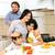 mutlu · aile · yeme · salata · ev · mutfak · sağlıklı · beslenme - stok fotoğraf © zurijeta