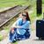 женщину · Солнцезащитные · очки · ждет · чемодан · бизнеса · лице - Сток-фото © zurijeta