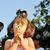 szőke · lány · fúj · haj · gyönyörű · eper - stock fotó © zurijeta